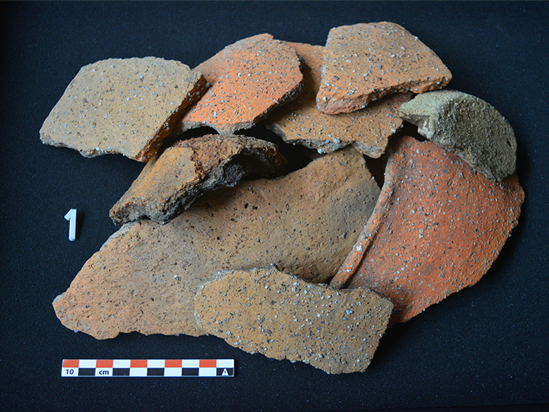 Found ceramic fragments of the archaeological excavations