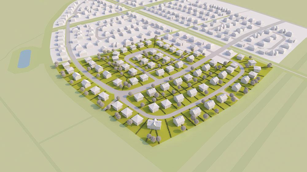 Visualisierung des zukünftigen Bauvorhabens