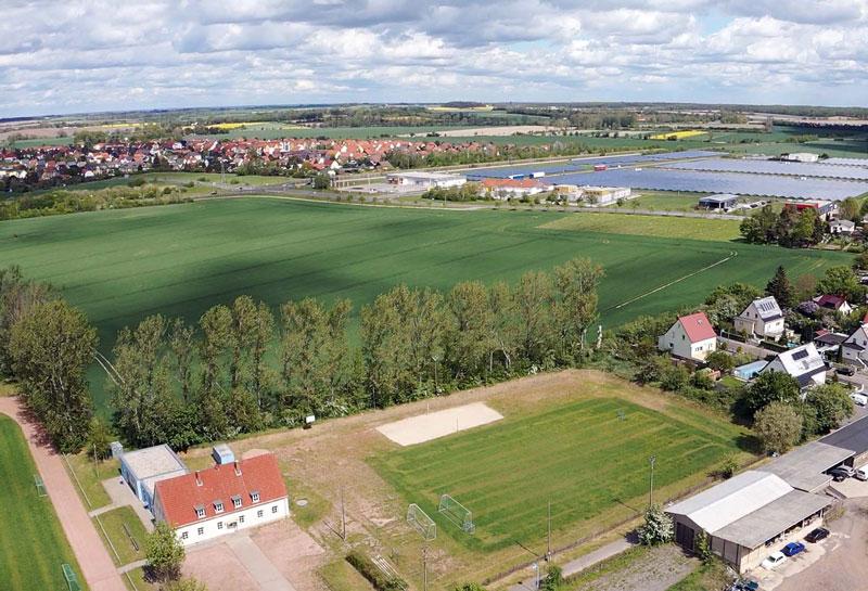 Luftaufnahme des zukünftigen Wohnareals in Borsdorf