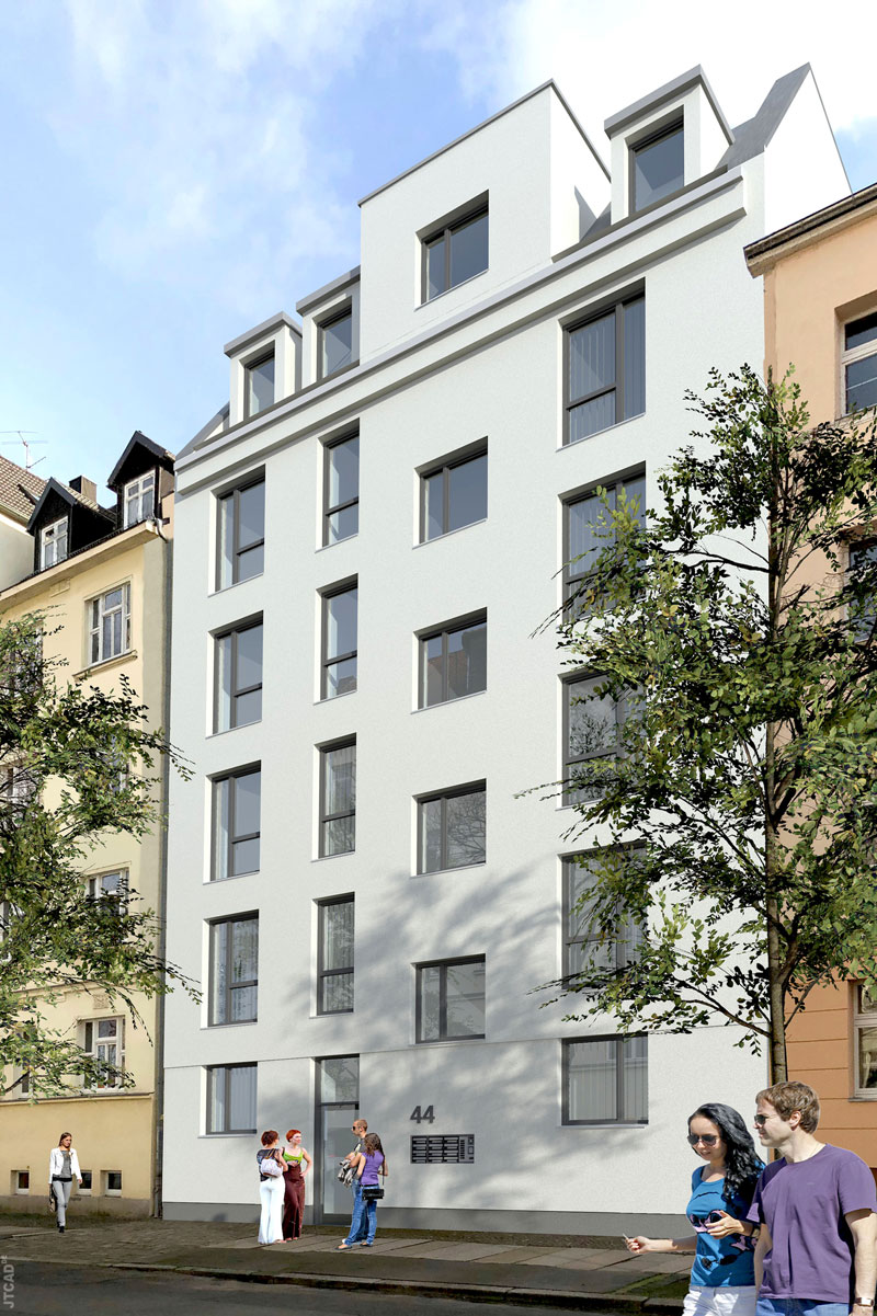 Projektiertes Mehrfamilienhaus in der Heinrich-Budde-Straße 44.