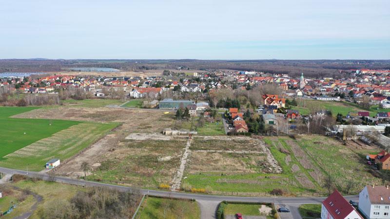 Luftaufnahme des zukünftigen Wohnareals in Naunhof.