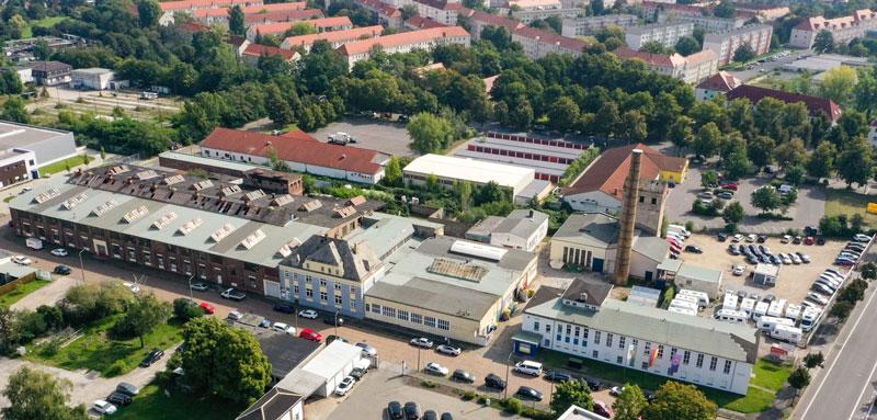 Blick auf das Gewerbeareal an der Plautstraße 38 in Leipzig.