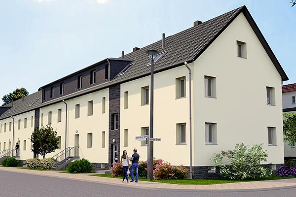 Visualisierung des Wohnprojektes an der Theoder-Körner-Straße in der Gartenstadt Taucha
