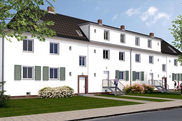 Visualisierung der Häuser des 2. Bauabschnittes entlang der Matthias-Erzberger-Straße in Taucha