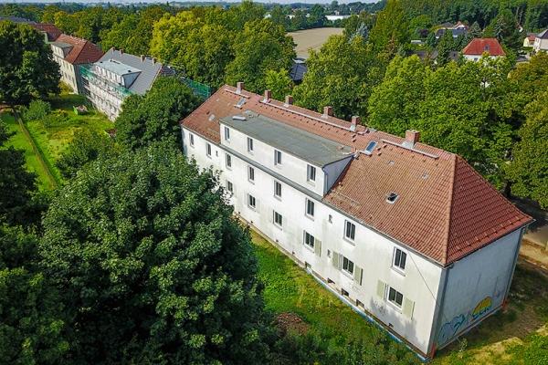 """Luftaufnahme der Häuser des Wohnprojektes """"Lindenquartier"""""""
