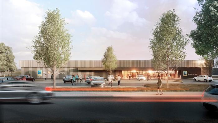 Visualisation of the future EDEKA supermarket on Eilenburger Straße in Taucha.